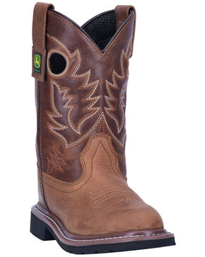 John Deere Boys' Tan Johnny Popper Western Boots - Round Toe, Tan, hi-res