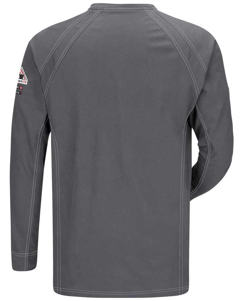 Bulwark Men's Grey iQ Series Flame Resistant Henley Shirt - Big & Tall, Charcoal Grey, hi-res