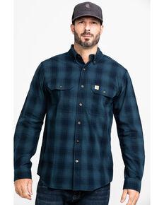 Carhartt Men's Navy Fort Plaid Button Long Sleeve Work Shirt - Tall , Navy, hi-res