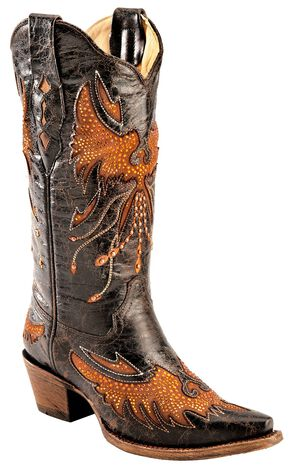 Corral Distressed Eagle Inlay Orange Rhinestone Cowgirl Boots - Snip Toe, Black, hi-res