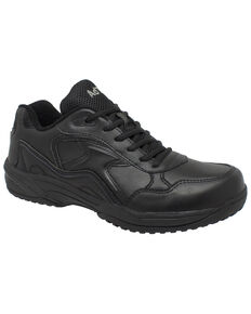 Ad Tec Men's Athletic Black Uniform Work Shoes - Composite Toe, Black, hi-res