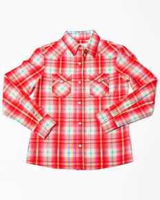 Panhandle Girls' White Label Woven Plaid Long Sleeve Western Shirt , Pink, hi-res