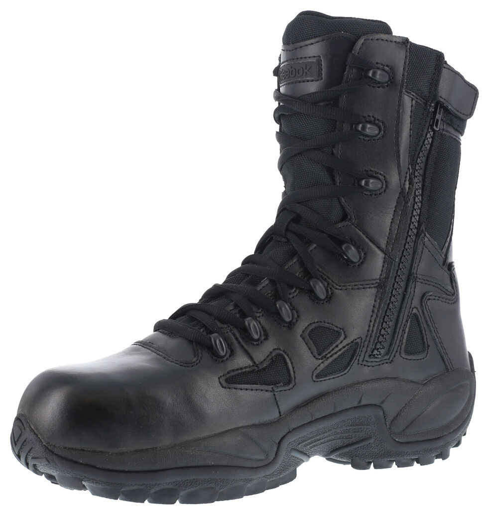 "Reebok Women's 8"" Side-Zip Rapid Response Tactical Boots - Round Toe, Black, hi-res"