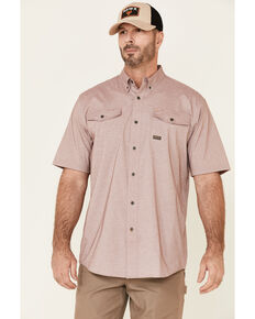 Ariat Men's Wine Rebar Made Tough Tek Durastretch Short Sleeve Button-Down Work Shirt, Wine, hi-res