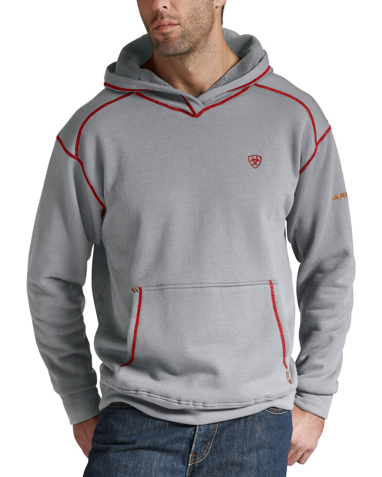 Ariat Flame Resistant Polartec Grey Hoodie - Big and Tall, Hthr Grey, hi-res