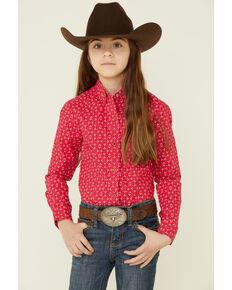 Cruel Girl Girls' Pink Geo Print Rhinestone Long Sleeve Snap Western Shirt , Pink, hi-res