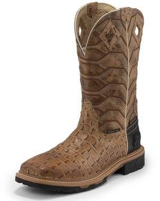 Justin Men's Derrickman Croc Print Western Work Boots - Composite Toe, Camel, hi-res