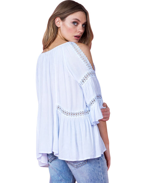 Miss Me Women's Light Blue Bell Sleeve Peasant Top, Light Blue, hi-res