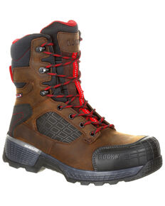 "Rocky Men's Treadflex Waterproof 8"" Work Boots - Safety Toe, Dark Brown, hi-res"
