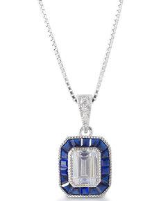 Kelly Herd Women's Asscher Cut Blue Spinel Pendant Necklace , Silver, hi-res