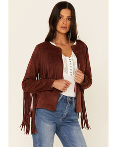 Idyllwind Women's Rust Blue Grass Faux Suede Fringe Jacket , Brown, hi-res