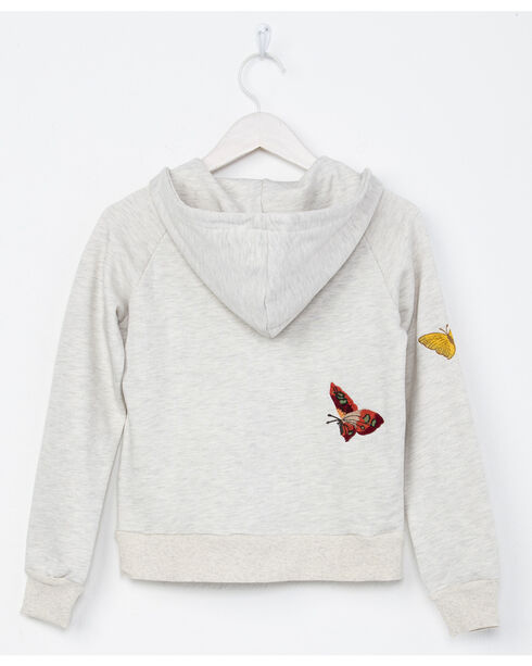 Miss Me Girls' Light Grey Butterfly Embroidered Full Zip Hoodie , Light Grey, hi-res