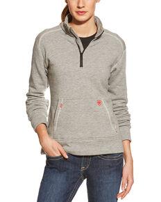 Ariat Women's FR 1/4 Zip Fleece Pullover, Grey, hi-res