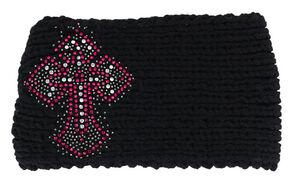 Shyanne Women's Embellished Cross Black Cable Knit Headband, Black, hi-res