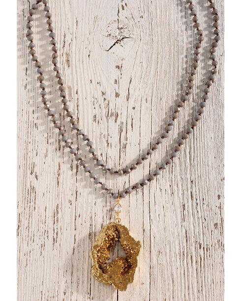 Gemelli Jewelry Women's Beaded Rock Wrap Necklace, Grey, hi-res