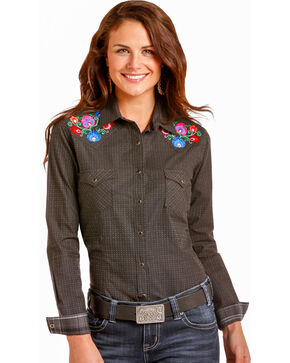 Rough Stock by Panhandle Women's Floral Embroidered Snap Shirt, Black, hi-res
