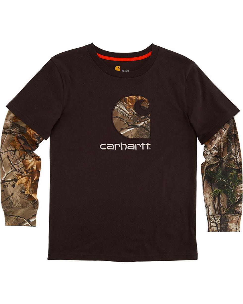 Carhartt Boys' Brown Big C Layered Tee , Brown, hi-res
