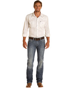 Rock & Roll Denim Men's Dark Vintage Wash Pistol Classic Straight Jeans, Blue, hi-res