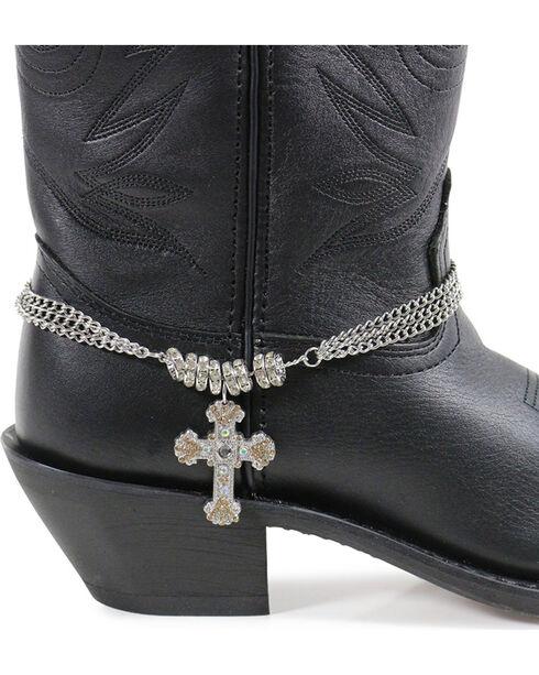 Shyanne Women's Rhinestone Cross Boot Bracelet , Silver, hi-res
