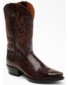 Dan Post Men's Exotic Water Snake Western Boots - Snip Toe, Chocolate, hi-res