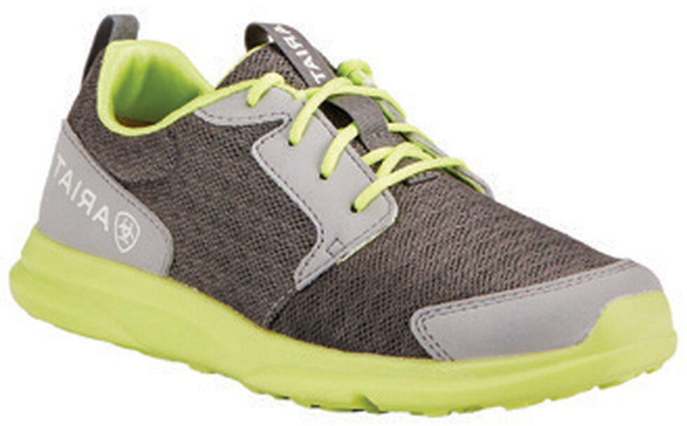 Ariat Boys' Fuse Grey Green Mesh Shoes, Grey, hi-res