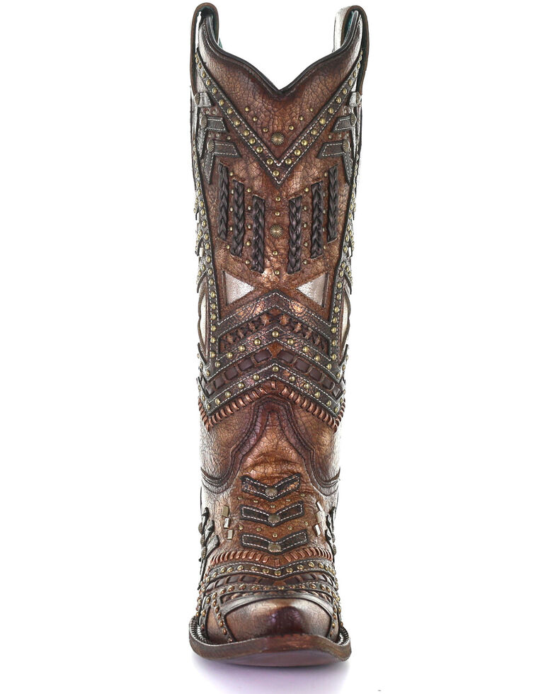 Corral Women's Overlay & Studs Western Boots - Snip Toe, Brown, hi-res