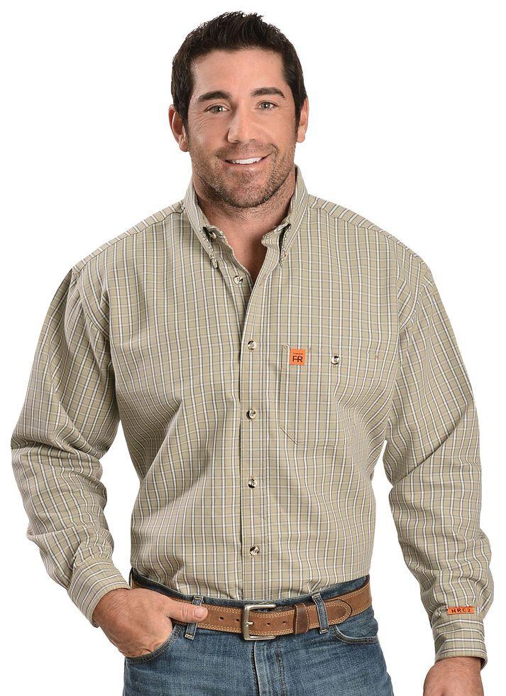 Wrangler Riggs Men's Flame Resistant Long Sleeve Work Shirt, Khaki, hi-res