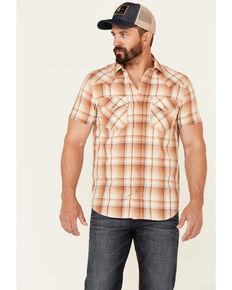 Pendleton Men's Tan Frontier Large Plaid Short Sleeve Snap Western Shirt , Tan, hi-res