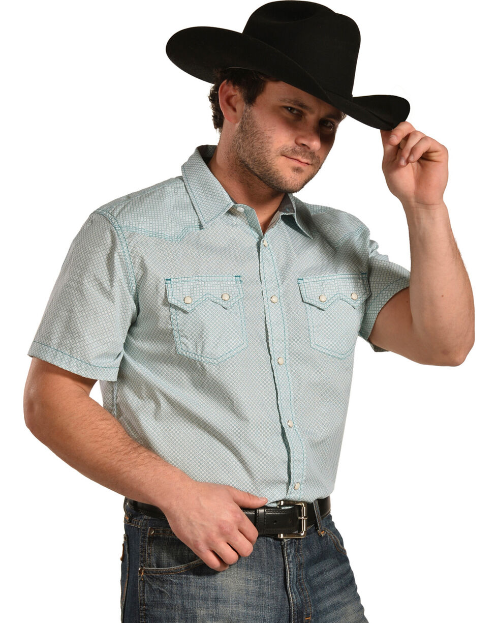 Cody James Men's Vertigo Geo Print Short Sleeve Snap Shirt - Big & Tall, Turquoise, hi-res