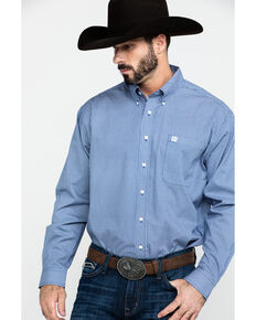Cinch Men's Royal Geo Print Long Sleeve Western Shirt , Royal Blue, hi-res