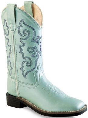 Old West Girls' Light Blue Western Boots - Square Toe, Blue, hi-res