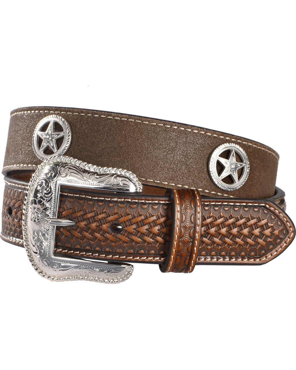 Cody James Men's Star Concho Western Belt, Brown, hi-res