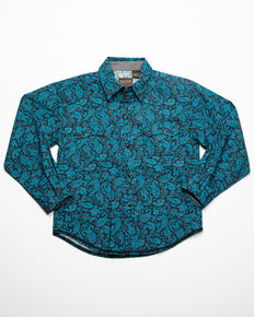 West Made Boys' Crackle Paisley Print Long Sleeve Western Shirt , Blue, hi-res