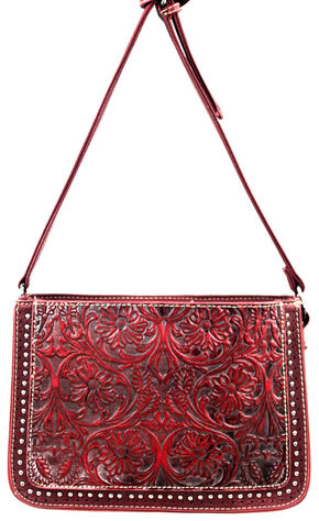 Montana West Trinity Ranch Tooled Design Collection Messenger Bag, Red, hi-res