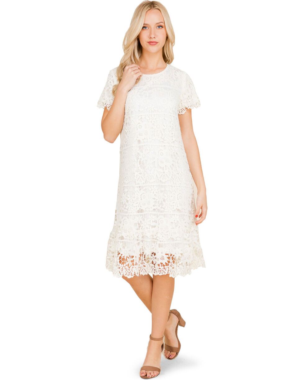 Polagram Women's White Lace Dress, Ivory, hi-res