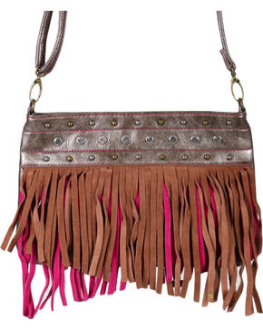 Trenditions Women's Fringe Trimmed Crossbody Bag, Brown, hi-res