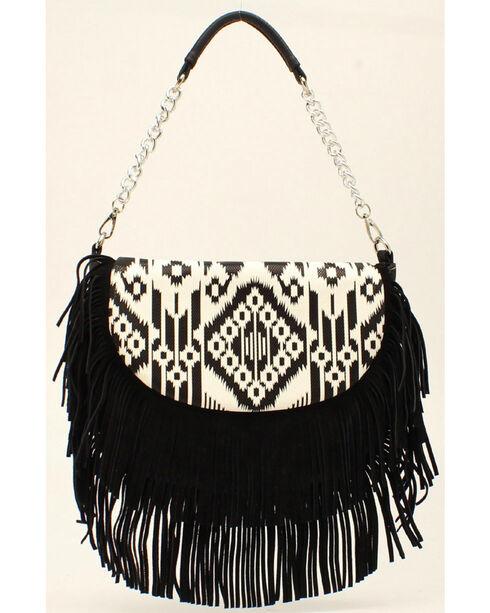 Blazin Roxx Women's Aztec Fringe Shoulder Bag, Blk/white, hi-res