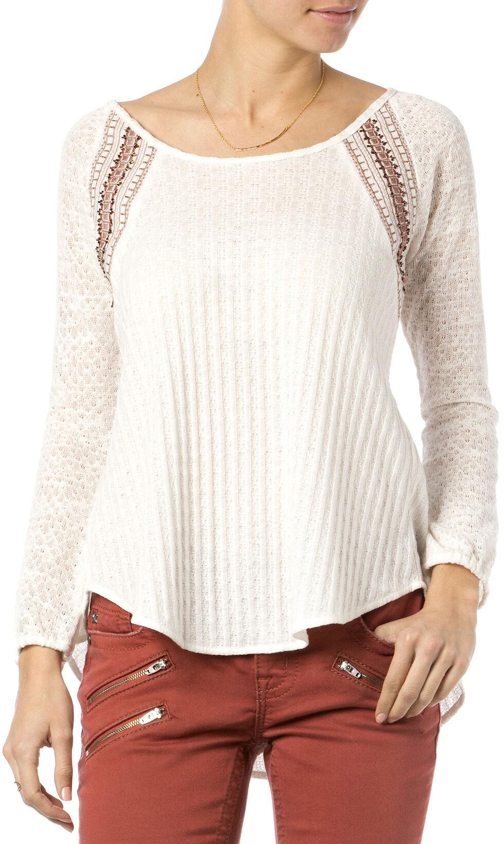 Miss Me Natural Mix-Match Crochet Long Sleeve Top , Natural, hi-res