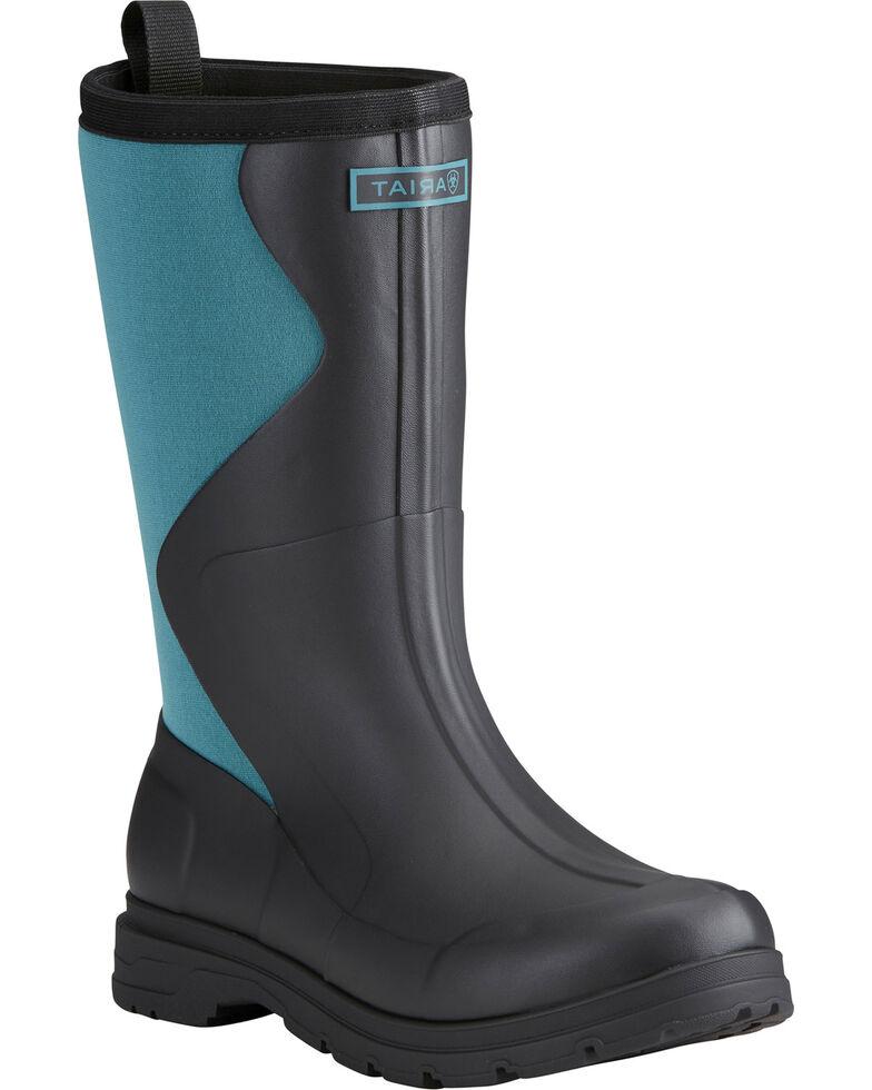 Ariat Women's Black Springfield Rubber Boots - Round Toe , Black, hi-res