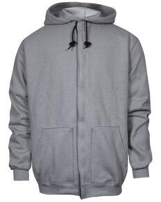 National Safety Apparel Men's Grey FR Heavyweight Zip Front Hooded Work Sweatshirt - Tall, Grey, hi-res