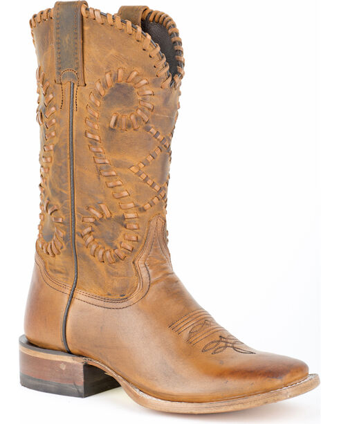 Stetson Saffron Whipstitched Cowgirl Boots - Square Toe, Brown, hi-res