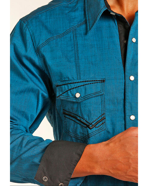 Rock & Roll Cowboy Men's Turquoise Heavy Stitched Western Shirt , Turquoise, hi-res