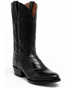 Dan Post Men's Black Eel Western Boots - Round Toe, Black, hi-res
