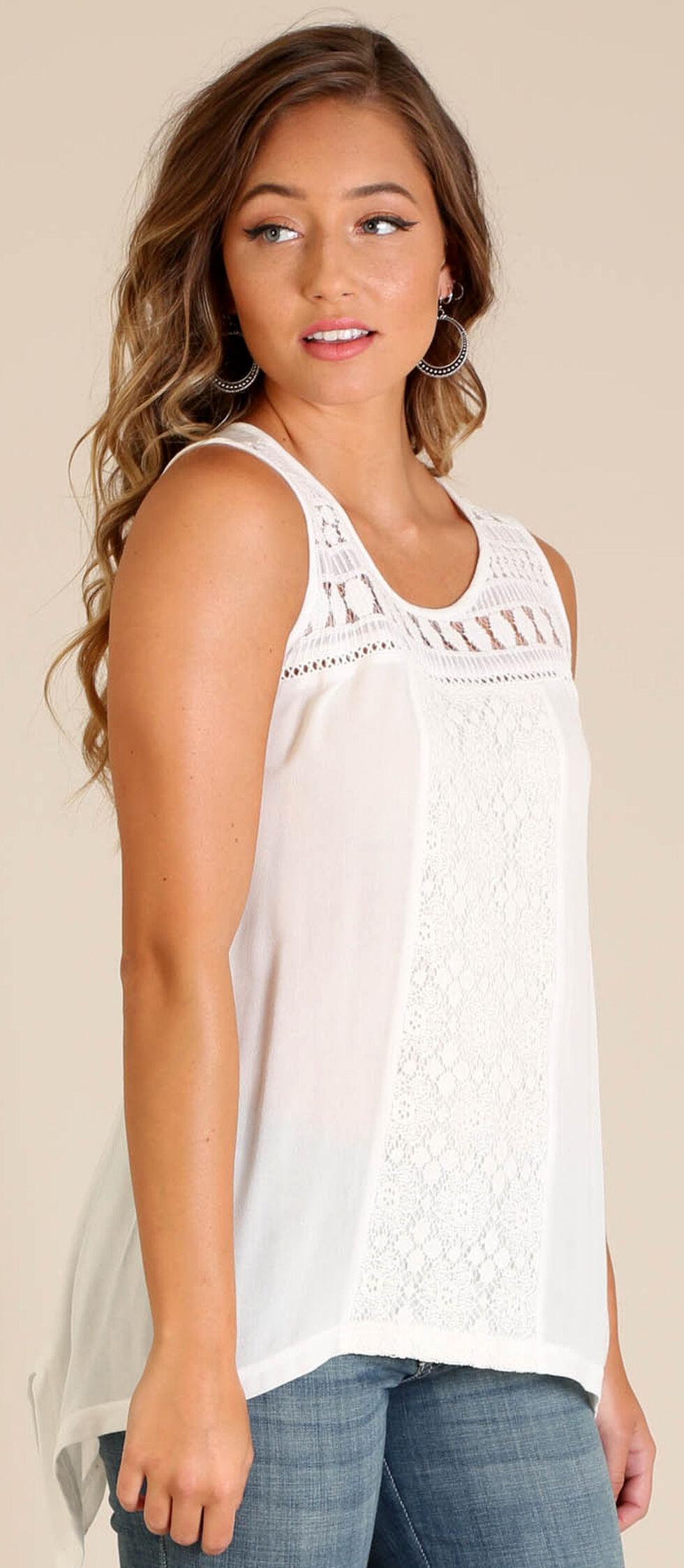 Wrangler Women's Sleeveless Top with Crochet Front, Cream, hi-res