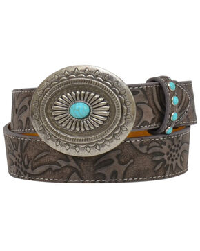 Shyanne Girls' Brown Floral Turquoise Stud Buckle Belt, Brown, hi-res