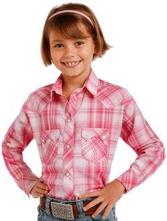 Panhandle Slim Girls' Pink Two Pocket Long Sleeve Plaid Shirt , Pink, hi-res