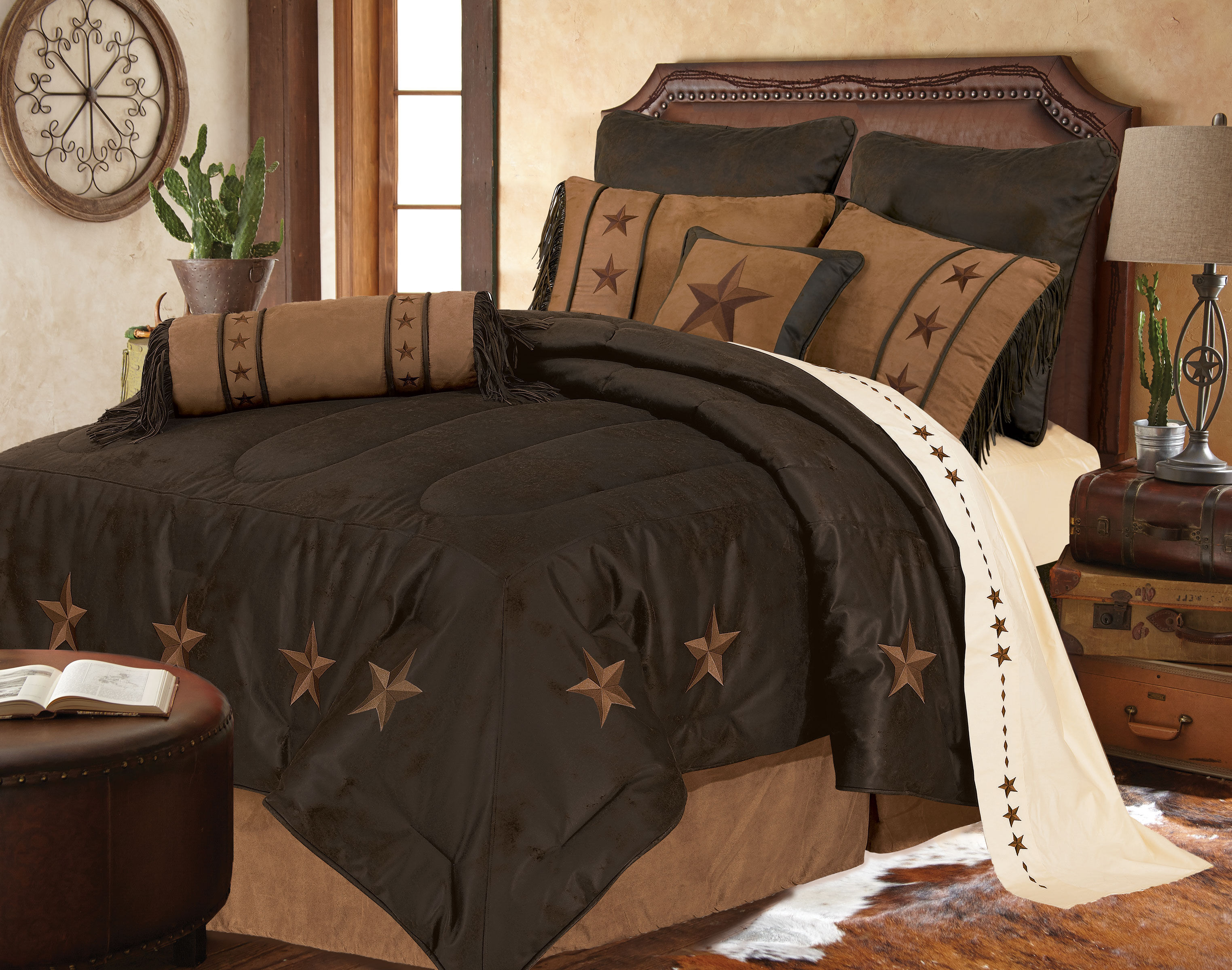 Marvelous HiEnd Accents Laredo Star Embroidery Bed In A Bag Set   King Size,  Chocolate,