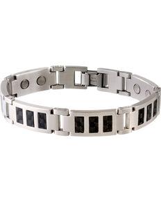Sabona Black Carbon Fiber Stainless Magnetic Bracelet , Steel, hi-res