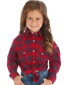 Wrangler Girls' Red Plaid Western Shirt   , Red, hi-res