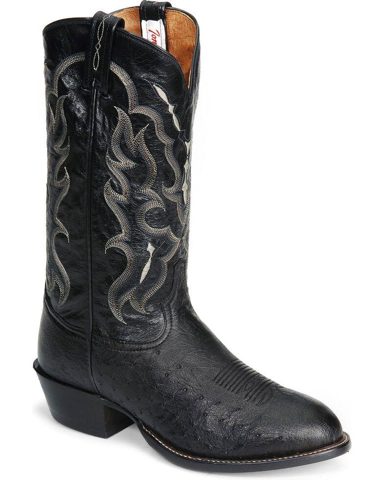 Tony Lama Smooth Ostrich Western Boots - Medium Toe, Black, hi-res